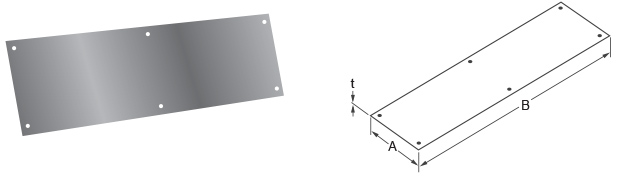 Isolated Photo And Diagram Of A Monarch Stainless Steel Kick Plate