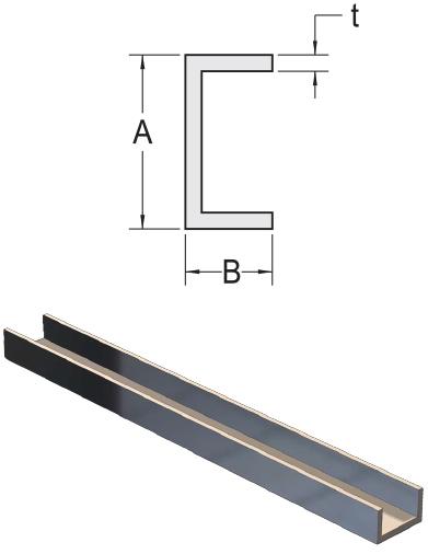 """1/"""" W x 1/"""" H x 1//16/"""" Wall Aluminum Channel: Fits 7//8/"""" Mill Finish 8 Foot"""